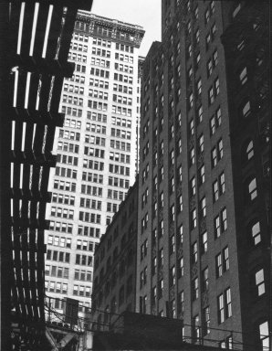 Consuelo Kanaga (American, 1894-1978). <em>[Untitled] (Architectural Abstraction, New York)</em>, 1930s or 1940s. Gelatin silver photograph, Image: 4 x 3 1/8 in. (10.2 x 7.9 cm). Brooklyn Museum, Gift of Wallace B. Putnam from the Estate of Consuelo Kanaga, 82.65.243 (Photo: Brooklyn Museum, 82.65.243_bw_IMLS.jpg)