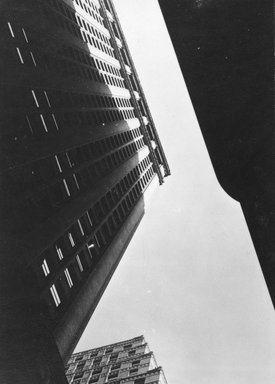 Consuelo Kanaga (American, 1894-1978). <em>[Untitled] (Architectural Abstraction, New York)</em>, 1930s or 1940s. Gelatin silver photograph, Image: 4 x 2 3/4 in. (10.2 x 7 cm). Brooklyn Museum, Gift of Wallace B. Putnam from the Estate of Consuelo Kanaga, 82.65.244 (Photo: Brooklyn Museum, 82.65.244_bw_IMLS.jpg)