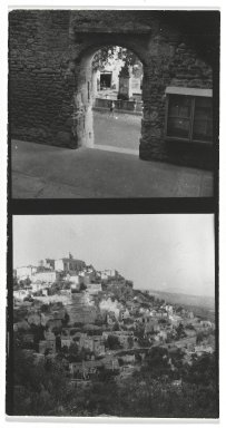 Consuelo Kanaga (American, 1894-1978). <em>[Untitled] (Upper Exposure - Fountain) and (Lower Exposure - City on a Hill)</em>. Gelatin silver photograph, 4 3/8 x 2 3/8 in. (11.1 x 6 cm). Brooklyn Museum, Gift of Wallace B. Putnam from the Estate of Consuelo Kanaga, 82.65.2655 (Photo: Brooklyn Museum, 82.65.2655_PS2.jpg)