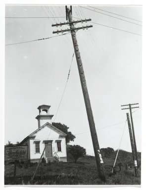 Consuelo Kanaga (American, 1894-1978). <em>[Untitled] (Schoolhouse)</em>. Gelatin silver photograph, 4 3/4 x 3 5/8 in. (12.1 x 9.2 cm). Brooklyn Museum, Gift of Wallace B. Putnam from the Estate of Consuelo Kanaga, 82.65.271 (Photo: Brooklyn Museum, 82.65.271_PS2.jpg)