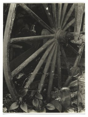 Consuelo Kanaga (American, 1894-1978). <em>[Untitled] (Carriage Wheel)</em>. Gelatin silver photograph, 3 7/8 x 2 7/8 in. (9.8 x 7.3 cm). Brooklyn Museum, Gift of Wallace B. Putnam from the Estate of Consuelo Kanaga, 82.65.276 (Photo: Brooklyn Museum, 82.65.276_PS2.jpg)