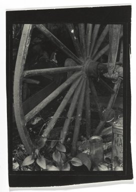 Consuelo Kanaga (American, 1894-1978). <em>[Untitled] (Carriage Wheel)</em>. Gelatin silver photograph, 4 3/4 x 3 3/8 in. (12.1 x 8.6 cm). Brooklyn Museum, Gift of Wallace B. Putnam from the Estate of Consuelo Kanaga, 82.65.277 (Photo: Brooklyn Museum, 82.65.277_PS2.jpg)