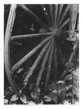 Consuelo Kanaga (American, 1894-1978). <em>[Untitled] (Cariage Wheel)</em>. Gelatin silver photograph, Other: 4 x 2 7/8 in. (10.2 x 7.3 cm). Brooklyn Museum, Gift of Wallace B. Putnam from the Estate of Consuelo Kanaga, 82.65.278 (Photo: Brooklyn Museum, 82.65.278_PS2.jpg)