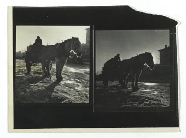 Consuelo Kanaga (American, 1894-1978). <em>[Untitled] (Horsedrawn Carriage)</em>. Gelatin silver photograph, 3 3/4 x 5 in. (9.5 x 12.7 cm). Brooklyn Museum, Gift of Wallace B. Putnam from the Estate of Consuelo Kanaga, 82.65.291 (Photo: Brooklyn Museum, 82.65.291_PS2.jpg)