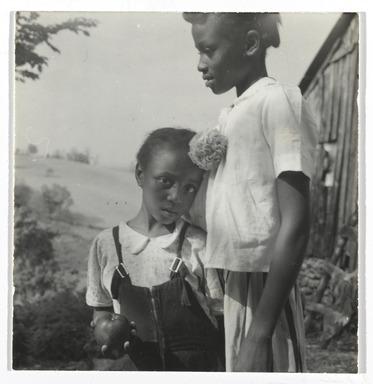 Consuelo Kanaga (American, 1894-1978). <em>[Untitled] (Southern Girls)</em>, late 1940s. Gelatin silver photograph, 2 1/4 x 2 1/4 in. (5.7 x 5.7 cm). Brooklyn Museum, Gift of Wallace B. Putnam from the Estate of Consuelo Kanaga, 82.65.292 (Photo: Brooklyn Museum, 82.65.292_PS2.jpg)
