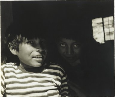 Consuelo Kanaga (American, 1894-1978). <em>[Untitled] (Native American Children, New Mexico)</em>, 1950s. Toned gelatin silver photograph, 5 3/8 x 6 3/8 in. (13.7 x 16.2 cm). Brooklyn Museum, Gift of Wallace B. Putnam from the Estate of Consuelo Kanaga, 82.65.297 (Photo: Brooklyn Museum, 82.65.297_PS2.jpg)