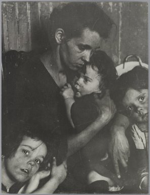 Consuelo Kanaga (American, 1894-1978). <em>[Untitled] (Woman with Three Children)</em>. Gelatin silver photograph, 12 1/2 x 9 7/8 in. (31.8 x 25.1 cm). Brooklyn Museum, Gift of Wallace B. Putnam from the Estate of Consuelo Kanaga, 82.65.309 (Photo: Brooklyn Museum, 82.65.309_PS1.jpg)