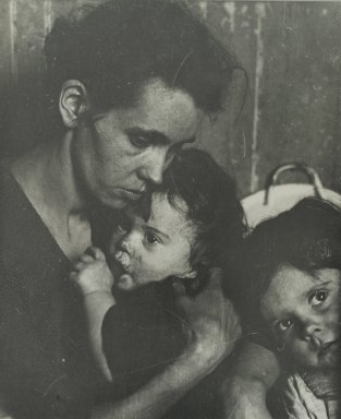 Consuelo Kanaga (American, 1894-1978). <em>[Untitled] (Woman with Two Children)</em>. Gelatin silver photograph, 9 1/4 x 7 5/8 in. (23.5 x 19.4 cm). Brooklyn Museum, Gift of Wallace B. Putnam from the Estate of Consuelo Kanaga, 82.65.311 (Photo: Brooklyn Museum, 82.65.311_PS2.jpg)