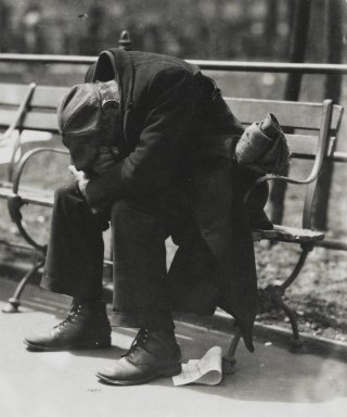 Consuelo Kanaga (American, 1894-1978). <em>[Untitled] (Man on Park Bench)</em>. Gelatin silver photograph, 4 1/8 x 3 1/2 in. (10.5 x 8.9 cm). Brooklyn Museum, Gift of Wallace B. Putnam from the Estate of Consuelo Kanaga, 82.65.319 (Photo: Brooklyn Museum, 82.65.319_PS2.jpg)