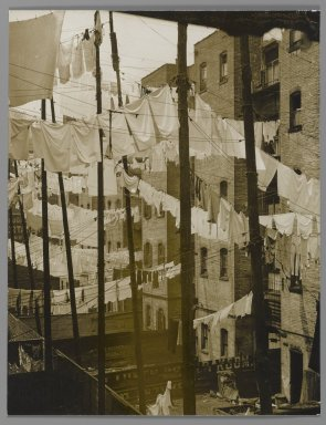 Consuelo Kanaga (American, 1894-1978). <em>[Untitled] (Tenements, New York)</em>, mid-late 1930s. Toned gelatin silver photograph, 9 1/2 x 7 1/4 in. (24.1 x 18.4 cm). Brooklyn Museum, Gift of Wallace B. Putnam from the Estate of Consuelo Kanaga, 82.65.38 (Photo: Brooklyn Museum, 82.65.38_PS2.jpg)