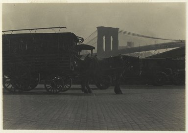 Consuelo Kanaga (American, 1894-1978). <em>[Untitled] (Horse Drawn Wagon)</em>, 1922-1924. Gelatin silver photograph, Image: 2 5/8 x 3 7/8 in. (6.7 x 9.8 cm). Brooklyn Museum, Gift of Wallace B. Putnam from the Estate of Consuelo Kanaga, 82.65.401 (Photo: Brooklyn Museum, 82.65.401_PS2.jpg)