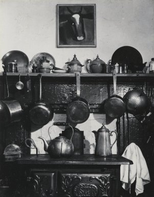 Consuelo Kanaga (American, 1894-1978). <em>Cornelia Street Kitchen</em>, 1944. Toned gelatin silver photograph, Image: 4 3/4 x 3 3/4 in. (12.1 x 9.5 cm). Brooklyn Museum, Gift of Wallace B. Putnam from the Estate of Consuelo Kanaga, 82.65.412 (Photo: Brooklyn Museum, 82.65.412_PS2.jpg)