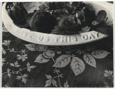 Consuelo Kanaga (American, 1894-1978). <em>[Untitled] (Bowl of Flowers)</em>. Gelatin silver photograph, 3 1/2 x 4 3/4 in. (8.9 x 12.1 cm). Brooklyn Museum, Gift of Wallace B. Putnam from the Estate of Consuelo Kanaga, 82.65.415 (Photo: Brooklyn Museum, 82.65.415_PS2.jpg)