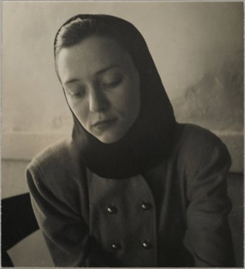 Consuelo Kanaga (American, 1894-1978). <em>[Untitled] (Woman in a Hood)</em>. Gelatin silver photograph, 4 1/4 x 4 in. (10.8 x 10.2 cm). Brooklyn Museum, Gift of Wallace B. Putnam from the Estate of Consuelo Kanaga, 82.65.436 (Photo: Brooklyn Museum, 82.65.436_PS2.jpg)