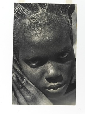 Consuelo Kanaga (American, 1894-1978). <em>[Untitled] (Girl with Double-Heart Ring, Tennessee)</em>, 1948. Gelatin silver photograph, 10 3/4 x 6 3/4 in. (27.3 x 17.1 cm). Brooklyn Museum, Gift of Wallace B. Putnam from the Estate of Consuelo Kanaga, 82.65.463 (Photo: Brooklyn Museum, 82.65.463_PS2.jpg)