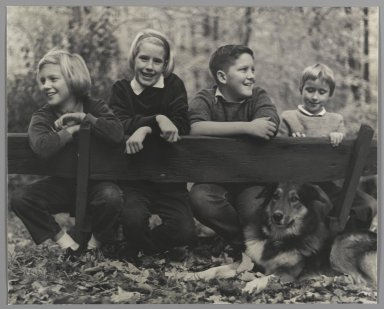 Consuelo Kanaga (American, 1894-1978). <em>[Untitled] (Children with Dog)</em>. Gelatin silver photograph, 8 x 9 7/8 in. (20.3 x 25.1 cm). Brooklyn Museum, Gift of Wallace B. Putnam from the Estate of Consuelo Kanaga, 82.65.47 (Photo: Brooklyn Museum, 82.65.47_PS2.jpg)
