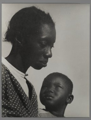 Consuelo Kanaga (American, 1894-1978). <em>[Untitled] (Mother and Son)</em>, 1950. Gelatin silver photograph, 10 1/2 x 8 1/8 in. (26.7 x 20.6 cm). Brooklyn Museum, Gift of Wallace B. Putnam from the Estate of Consuelo Kanaga, 82.65.4 (Photo: Brooklyn Museum, 82.65.4_PS2.jpg)