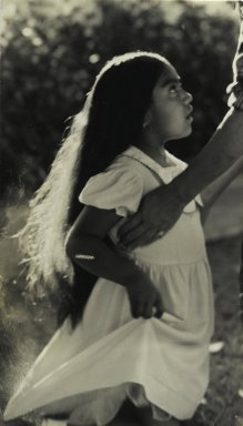 Consuelo Kanaga (American, 1894-1978). <em>[Untitled] (Indian Girl)</em>. Gelatin silver photograph, 5 5/8 x 3 3/8 in. (14.3 x 8.6 cm). Brooklyn Museum, Gift of Wallace B. Putnam from the Estate of Consuelo Kanaga, 82.65.62 (Photo: Brooklyn Museum, 82.65.62_PS2.jpg)