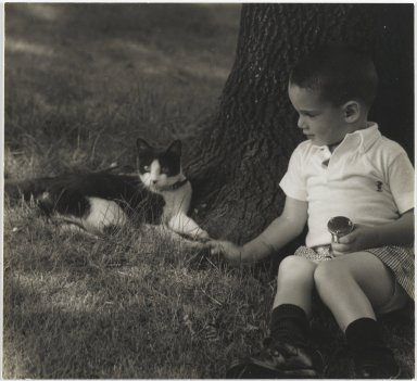 Consuelo Kanaga (American, 1894-1978). <em>[Untitled] (Boy with Cat)</em>. Gelatin silver photograph, 5 x 5 3/8 in. (12.7 x 13.7 cm). Brooklyn Museum, Gift of Wallace B. Putnam from the Estate of Consuelo Kanaga, 82.65.71 (Photo: Brooklyn Museum, 82.65.71_PS2.jpg)