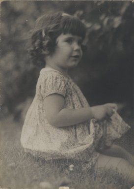 Consuelo Kanaga (American, 1894-1978). <em>[Untitled] (Seated Girl)</em>. Gelatin silver photograph, 6 7/8 x 5 in. (17.5 x 12.7 cm). Brooklyn Museum, Gift of Wallace B. Putnam from the Estate of Consuelo Kanaga, 82.65.72 (Photo: Brooklyn Museum, 82.65.72_PS2.jpg)