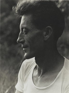 Consuelo Kanaga (American, 1894-1978). <em>[Untitled] (Harvey Zook)</em>. Gelatin silver photograph, 4 x 3 in. (10.2 x 7.6 cm). Brooklyn Museum, Gift of Wallace B. Putnam from the Estate of Consuelo Kanaga, 82.65.74 (Photo: Brooklyn Museum, 82.65.74_PS2.jpg)