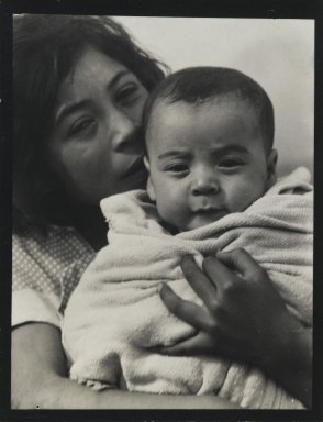 Consuelo Kanaga (American, 1894-1978). <em>[Untitled] (Mother and Child)</em>. Gelatin silver photograph, 4 3/8 x 3 3/8 in. (11.1 x 8.6 cm). Brooklyn Museum, Gift of Wallace B. Putnam from the Estate of Consuelo Kanaga, 82.65.80 (Photo: Brooklyn Museum, 82.65.80_PS2.jpg)