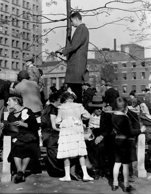 Consuelo Kanaga (American, 1894-1978). <em>May Day Parade, Union Square</em>, 1937. Negative, 4 x 5 in. (10.2 x 12.7 cm). Brooklyn Museum, Gift of Wallace B. Putnam from the Estate of Consuelo Kanaga, 82.65.973 (Photo: Brooklyn Museum, 82.65.973_bw_SL4.jpg)