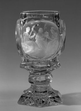 <em>Stemmed Goblet</em>, ca. 1850. Glass, 5 11/16 x 2 7/8 in. (14.4 x 7.3 cm). Brooklyn Museum, Gift of Phyllis Newman Milstein, 82.69.1. Creative Commons-BY (Photo: Brooklyn Museum, 82.69.1_bw.jpg)