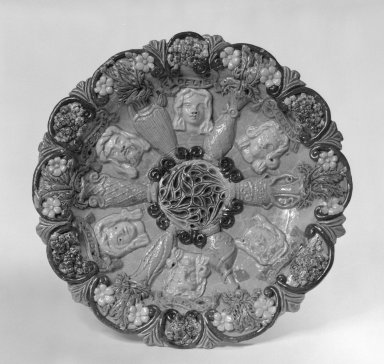 Edward Bingham (English, 1829-early 20th century). <em>Dish</em>, 1870-1885. Lead-glazed earthenware, 1 3/4 x 9 1/2 in. (4.4 x 24.1 cm). Brooklyn Museum, Gift of Phyllis Newman Milstein, 82.69.2. Creative Commons-BY (Photo: Brooklyn Museum, 82.69.2_bw.jpg)