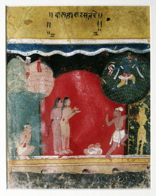 Indian. <em>Krishna Steals the Gopis' Clothes, Page from a Dated Rasikapriya Series</em>, 1634. Opaque watercolors on paper, sheet: 7 3/4 x 6 1/8 in.  (19.7 x 15.6 cm). Brooklyn Museum, Gift of Nancy Anderson in honor of Dr. Bertram H. Schaffner, 82.73.1 (Photo: Brooklyn Museum, 82.73.1_IMLS_SL2.jpg)