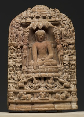 <em>Plaque Depicting Episodes from the Life of Shakyamuni Buddha</em>, 12th century. Pyrophyllite, 5 3/4 x 3 3/4 in. (14.6 x 9.5 cm). Brooklyn Museum, Gift of The Roebling Society, 82.78. Creative Commons-BY (Photo: Brooklyn Museum, 82.78_PS2.jpg)