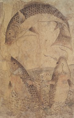 <em>Three Jumping Carp</em>, late 19th-early 20th century. Ink and light color on paper, Overall: 34 x 22 in. (86.4 x 55.9 cm). Brooklyn Museum, Gift of Mr. and Mrs. Burton Krouner