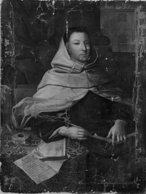 French School. <em>Portrait of an Ecclesiastic</em>, 18th century. Oil on canvas, 50 1/2 x 28 1/2 in. (128.3 x 72.4 cm). Brooklyn Museum, Gift of the New York City Police Department