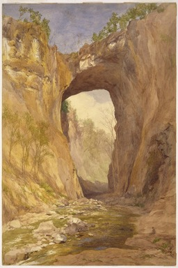 John Henry Hill (American, 1839-1922). <em>Natural Bridge, Virginia</em>, 1876. Watercolor over graphite on very thick, slightly textured wove paper mounted to a secondary paper, 21 1/4 x 14 1/8 in. (54 x 35.9 cm). Brooklyn Museum, Gift of Mr. and Mrs. Leonard L. Milberg, 82.85.2 (Photo: Brooklyn Museum, 82.85.2_SL1.jpg)