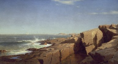 William Stanley Haseltine (American, 1835-1900). <em>Rocks at Nahant</em>, 1864. Oil on canvas, 22 1/16 x 40 1/8 in. (56 x 101.9 cm). Brooklyn Museum, Dick S. Ramsay Fund and A. Augustus Healy Fund, 82.86 (Photo: Brooklyn Museum, 82.86_SL3.jpg)