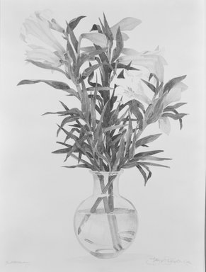 Gary Alan Bukovnik (American, born 1947). <em>Easter Lily</em>, 1982. Lithograph in color, Image: 37 13/16 x 25 1/8 in. (96 x 63.8 cm). Brooklyn Museum, Gift of the artist, 82.88.1. © artist or artist's estate (Photo: Brooklyn Museum, 82.88.1_bw.jpg)