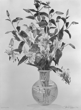 Gary Alan Bukovnik (American, born 1947). <em>Pink Lillies</em>, 1982. Lithograph in color on paper, Image: 39 1/2 x 28 in. (100.4 x 71.1 cm). Brooklyn Museum, Gift of Gary Alan Bukovnik, 82.88.2. © artist or artist's estate (Photo: Brooklyn Museum, 82.88.2_bw.jpg)