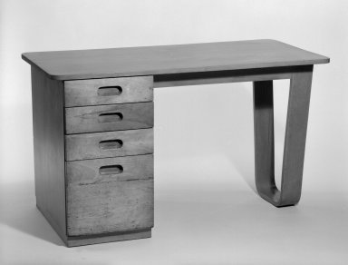 Marcel Breuer (American, born Hungary, 1902-1981). <em>Desk</em>, 1938. Birch plywood and solid wood, 29 1/16 x 50 x 24 5/8 in. (73.8 x 127 x 62.5 cm). Brooklyn Museum, Gift of Bryn Mawr College, 83.1.2. Creative Commons-BY (Photo: Brooklyn Museum, 83.1.2_bw.jpg)