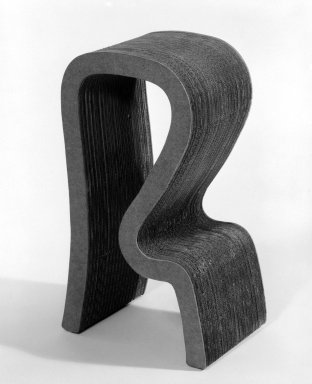 "Frank Gehry (American, born 1929). <em>Stool, ""Easy Edges,""</em> Designed 1971; Manufactured ca. 1982. Corrugated cardboard, pressed board and wood, 29 x 11 1/4 x 16 3/8 in. (73.7 x 28.5 x 41.7 cm). Brooklyn Museum, Gift of Paul F. Walter, 83.108.2. Creative Commons-BY (Photo: Brooklyn Museum, 83.108.2_bw.jpg)"
