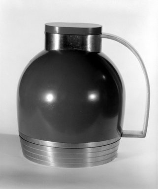 Henry Dreyfuss (American, 1904-1972). <em>Thermos Pitcher with Base and Lid</em>, 1935. Aluminum, steel (?), glass, rubber, 7 1/4 x 7 3/8 x 5 5/8 in. (18.4 x 18.7 x 14.3 cm). Brooklyn Museum, Gift of Paul F. Walter, 83.108.3a-c. Creative Commons-BY (Photo: Brooklyn Museum, 83.108.3_bw.jpg)