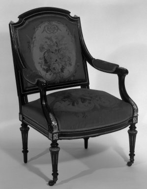 Léon Alexandre Marcott (French, 1824-1887). <em>Armchair (Louis XVI Revival style)</em>, 1869. Ebonized blue beech, gilt bronze, original Aubusson tapestry upholstery (wool, linen warp), 38 3/8 x 25 1/8 x 22 1/8 in. (97.5 x 63.8 x 56.2 cm). Brooklyn Museum, H. Randolph Lever Fund