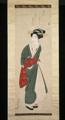 Yamaguchi Soken (Japanese, 1759-1818). <em>A Kyoto Geisha</em>, Autunm 1796. Hanging scroll, ink and color on silk, 44 1/2 x 15 3/4 in. (113 x 40 cm). Brooklyn Museum, Gift of Dolly Carter in memory of her husband, Chester Dale Carter, 83.111.1 (Photo: Brooklyn Museum, 83.111.1_IMLS_SL2.jpg)