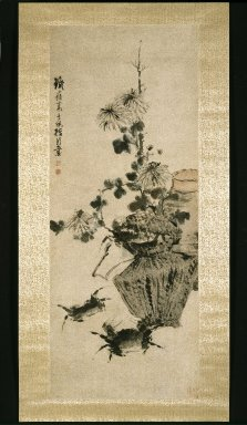 Gao Qipei (Chinese, 1672-1734). <em>Crabs and Chrysanthemums</em>, 18th century. Ink and light color on paper, 39 3/4 x 15 3/4 in. (101 x 40 cm). Brooklyn Museum, Gift of Dolly Carter in memory of her husband, Chester Dale Carter, 83.111.3 (Photo: Brooklyn Museum, 83.111.3_IMLS_SL2.jpg)