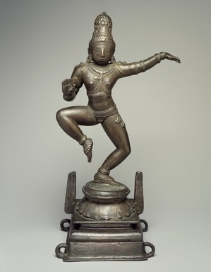 <em>Dancing Krishna</em>, ca. 11th century. Bronze, 15 3/4 x 6 1/2 in. Brooklyn Museum, Gift of Georgia and Michael de Havenon, 83.113. Creative Commons-BY (Photo: Brooklyn Museum, 83.113_front.jpg)