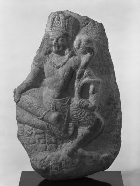 <em>Seated Avalokiteshvara (Bodhisattva Padmapani)</em>, 7th-8th century. Limestone, 30 11/16 x 20 1/2 in. (78 x 52 cm). Brooklyn Museum, Gift of Amy and Robert L. Poster, 83.116. Creative Commons-BY (Photo: Brooklyn Museum, 83.116_bw.jpg)