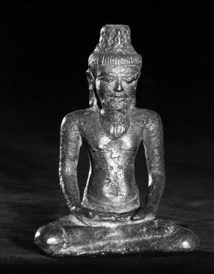 <em>A Buddhist Saint</em>, 8th-9th century. Bronze, 5 x 2 1/4 in. (12.7 x 5.7 cm). Brooklyn Museum, Gift of the Charles Bloom Foundation, 83.120. Creative Commons-BY (Photo: Brooklyn Museum, 83.120_bw.jpg)