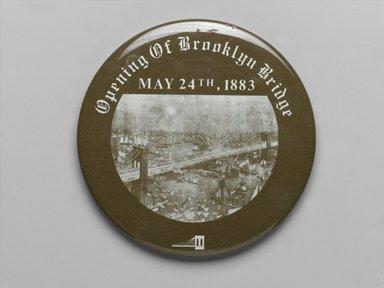 Unknown. <em>Button</em>, 1983. Metal, 2 7/8 in. (7.3 cm). Brooklyn Museum, Ella C. Woodward Memorial Fund, 83.126.12. Creative Commons-BY (Photo: Brooklyn Museum, 83.126.12_PS2.jpg)