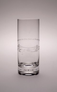 Unknown. <em>Highball Glass (Brooklyn Bridge)</em>, 1983. Crystal, 6 1/4 x 2 3/8 x 2 3/8 in. (15.9 x 6 x 6 cm). Brooklyn Museum, Ella C. Woodward Memorial Fund, 83.126.2. Creative Commons-BY (Photo: Brooklyn Museum, 83.126.2_Justin_van_Soest_photograph.jpg)