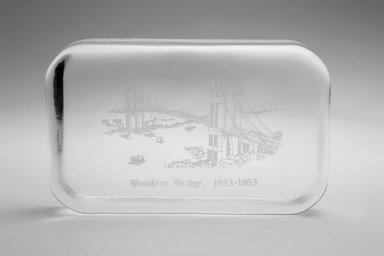 Unknown. <em>Paperweight (Brooklyn Bridge)</em>, 1983. Glass, 5/8 x 4 1/4 x 2 5/8 in. (1.6 x 10.8 x 6.7 cm). Brooklyn Museum, Ella C. Woodward Memorial Fund, 83.126.3. Creative Commons-BY (Photo: Brooklyn Museum, 83.126.3.jpg)