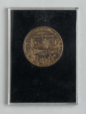 Unknown. <em>Brooklyn Bridge Centennial Medal</em>, 1983. Metal, cloth, cardboard, plexiglass, Case: 3 3/4 x 2 3/4 in. (9.5 x 7 cm). Brooklyn Museum, Ella C. Woodward Memorial Fund, 83.126.4. Creative Commons-BY (Photo: Brooklyn Museum, 83.126.4_back_PS2.jpg)